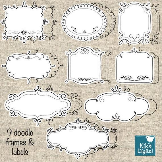 Doodle Frames - Labels Digital Clipart / Scrapbooking - card design, invitations, paper crafts, web design - INSTANT DOWNLOAD
