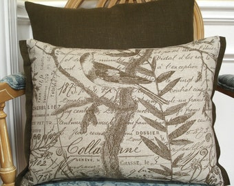 Bird and french script cotton pillow cover - rectangle/lumbar - 14 x 18