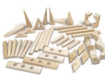 "Wood Blocks -""30 Piece Add-On Set"" Fun Shaped Wooden Building Blocks"