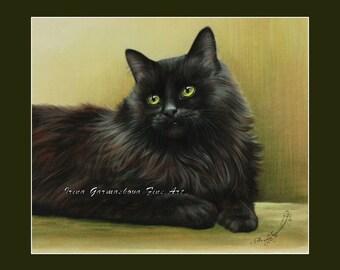Black Cat Print Green Tones by Irina Garmashova