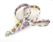 Spring Daisy Id Badge Lanyard Floral Key Holder Lavender Purple Teacher Lanyard White and Yellow Dasies