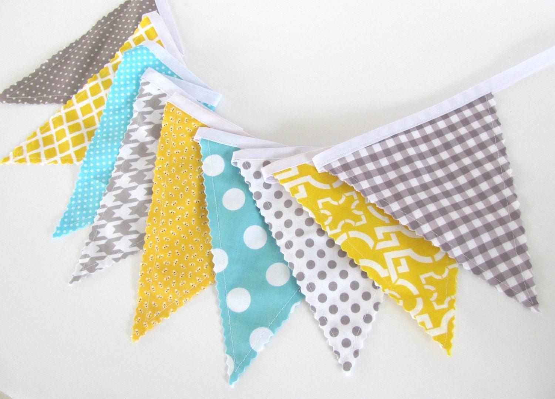 Fabric flags bunting banner boys nursery baby by ovationstudio for Boy nursery fabric