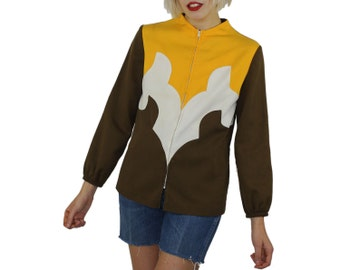 Psychedelic Sport Jacket - Hippie Coat Sporty 1970s  Elastic Cuffs Metal Zipper 70s Far Out Trippy Jack Frost Abstract Brown Yellow Jogging