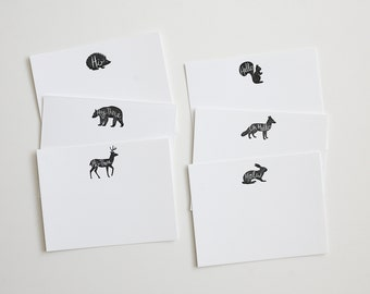Letterpress Woodland Animal Hello Card Pack of Cards / Set of 12 / Everyday Stationery