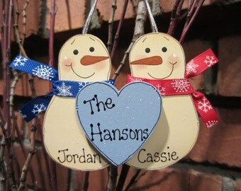 Snowmen Couple Ornament - Family Ornament