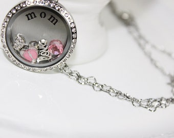New Mom Floating Locket Necklace Mothers Day Gift, New Mother Gift, Mother Gift Its A Girl Gift, Mother Birthday Gift