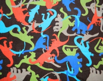 """Dinosaur Themed No Sew Fleece Blanket, Dino Dan, Dinosaur Train Blanket-T-Rex, Triceratops- 42"""" X 60"""" Double Sided with your choice of Back"""