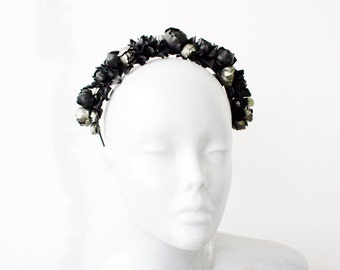 Black/metallic leather rose headband - Made to Order
