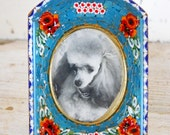 French Country 1950s Miniature Glass Italian Micro Mosaic Picture Photo Frame Poodle Dog Arts and Crafts Hollywood Regency Floral Cottage