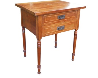 Antique Pre Civil War Era Country Table Vintage 1830s -1860s Solid Cherry Stand Marquetry Sheraton Work 2 Drawer Victorian Iron Dog Bin Pull