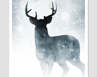 Watercolour Print, Nature Print, Nature Art, Animal Print, Woodland Animals, Deer Print, Contemporary Art, Graphic Art Print, Winter Art, A3