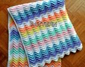 Baby Blanket Crochet Pattern, Rainbow Ripple, Baby Afghan, Crib Blanket Pattern