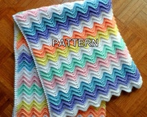 Crochet Rainbow Baby Blanket Pattern By Flavia : Unique rainbow ripple related items Etsy