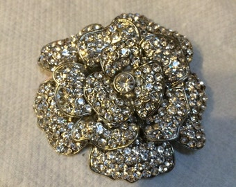 Giant jeweled rhinestone rose fower bridal pin brooch wedding bouquet free shopping