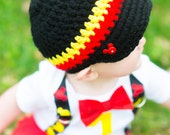 Mickey Mouse Button Crocheted Newsboy Style Visor Hat  - Newborn to 4T - Pick your own - Mickey Mouse First Birthday - Baby boy birthday