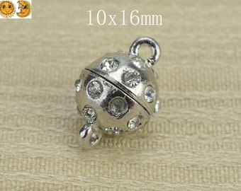 10 pcs magnetic clasp,metal clasp,rhinestone clasp,silver plated alloy with rhinestone,metal findings,connector bead,ball 10x16mm