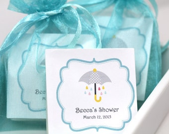 Bridal Shower Favors, Teal Party Favors, Baby Shower Favors, Shabby Chic Wedding Favor- Set of 10  soap Favors