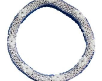 Sparkly White, Silver Crocheted Beaded Bracelet, Czech Seed Beads,Nepal, PB324
