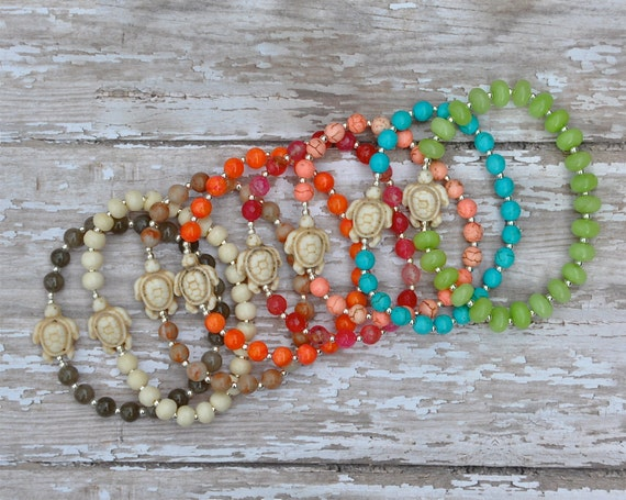 Items Similar To Trendy Sea Turtle Beaded Bracelets By