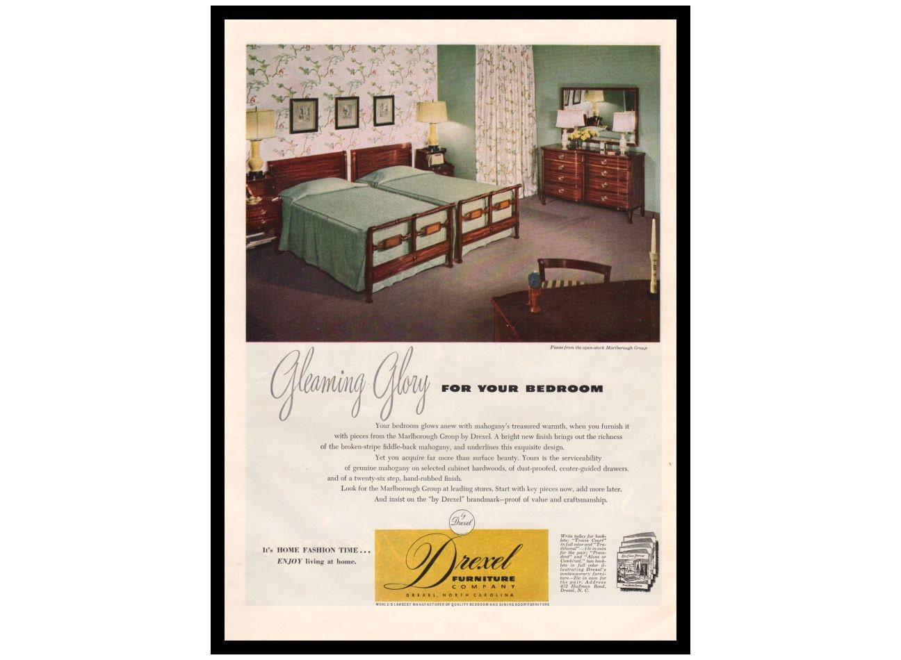 Vintage drexel furniture ad 1940s magazine by aplugfromthepast for P s furniture flyer