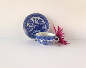 antique flo blue willow tree demitasse teacup and saucer, made in occupied Japan, childs teacup and saucer