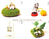 PETS - Magical Faerie Trinket Chest, Fairy, Fay, Green Grass, OOAK, Miniatures, Cat, Rabbit, Bunny, Bird, Carrot, Trees, Bird Cage, Mushroom