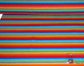 0,5 x 1,6 m JERSEY KNIT FABRIC stripes rainbow multicolour, 94/6% cotton/spandex