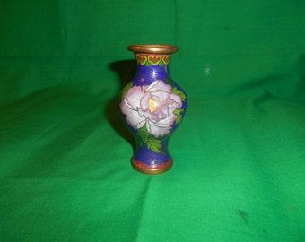 One (1), Small,  Oriental Cloisonne Brass & Enamel Vase.