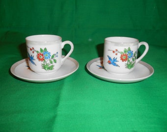 Two (2), Eggshell Porcelain, Demitasse Cups and Saucers. Occupied Japan, Crockery Importers, Newington, Conn.
