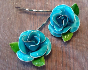 Decorative Hair Pins Rose Jewelry Turquoise Blue Enamel Hairpins Bobby Pins