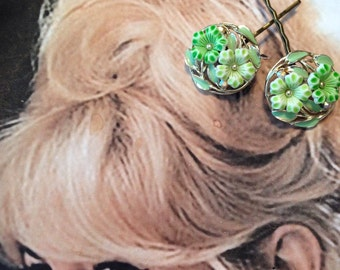 Decorative Hair Pins 1940-1950's Green Enamel Floral Hairpins Bobby Pins