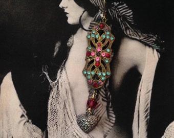Marcasite Heart Earrings 1920's Bohemian Boho Romantic Czech Dangles