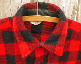 Vintage Northern Lights Red Plaid Heavy Wool Lumberjack Shirt Jacket Mens XL