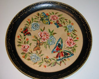 Vintage Handpainted Butterfly Tray, 1970s