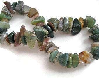 Fancy Jasper Bracelet gemstone chip bracelet Stretch beaded bracelet Gift for her Birthday Green jewelry bracelet St. Patrick's Day  gift