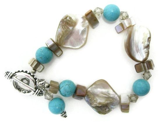 Shell Beaded Bracelet Swarovski golden shadow crystals turquoise howlite iridescent shell summer bracelet