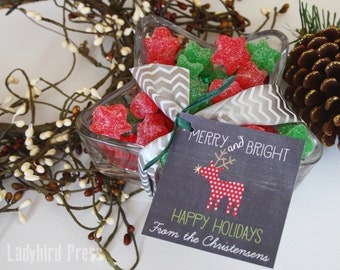 Personalized Printable Christmas Tags - Chalkboard Christmas Tags - Merry and Bright - CC