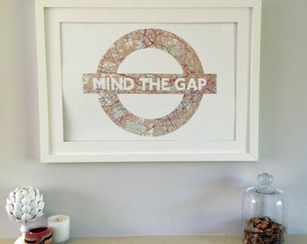 Ex. Lg A2 Size - MIND THE GAP - Hand paper cut art made from a vintage Map of London // Handmade in England
