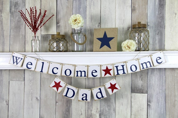 Welcome home daddy military homecoming banner welcome home for Welcome home soldier decorations