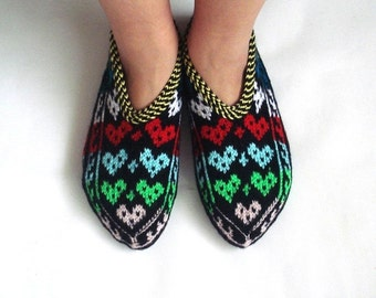 womens slippers, ethnic knit slippers, authentic, MultiColor Turkish Slippers christmas Valentines gifts for women, love heart for her teens