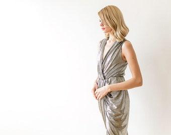 Metallic gold wrap maxi sleeveless dress, Formal gold maxi gown