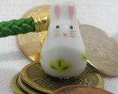 Rabbit Maneki Neko Porcelain Phone/Handbag Charm Green Leaves/ Foliage, with Green Braided Lanyard/Strap and Bell.