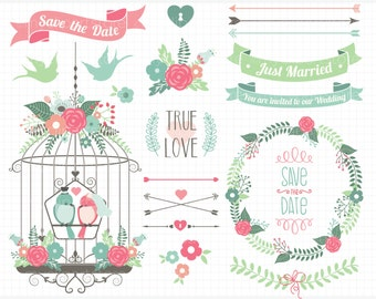 Clipart - Wedding Bliss / Getting Married - Digital Clip Art (Instant Download)