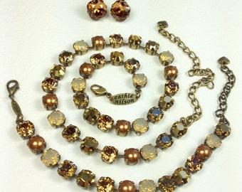 Swarovski Crystal 8.5mm Necklace / Bracelet / Earrings - Designer Inspired  - Brandy, Cognac, Copper and Gold - FREE SHIPPING