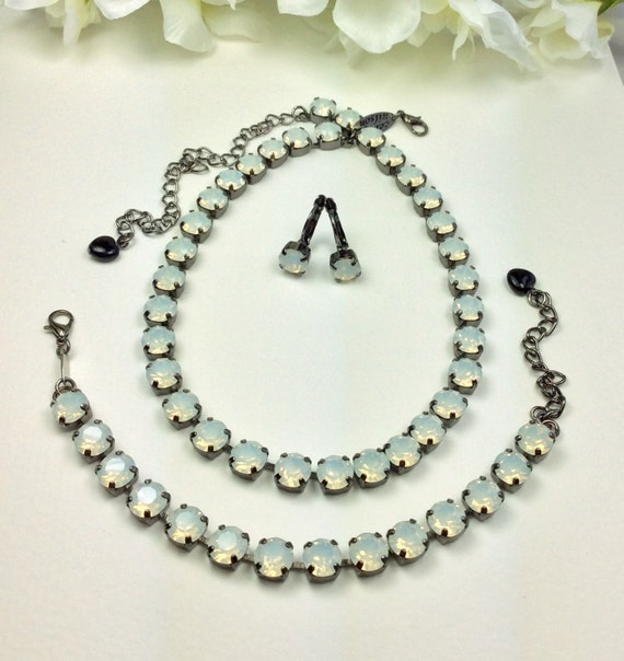 Swarovski Crystal 8.5mm Necklace & Bracelet - Designer Inspired - Beautiful White Opals - October Birthstone - FREE SHIPPING