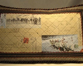 Post Card Ski Scene Pillow Quilted Donghia Gray Wool with Ornate Trim & Chenille Cord. 16 x 26 w/Down Fill. Limited Edition! (Made to Order)