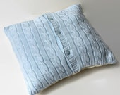 blue cable knit pillow cover // recycled cardigan pillow // upcycled sweater pillow // light blue home decor // recycled home decor