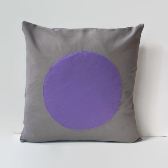 Purple And Gray Decorative Pillows : grey and purple pillow cover // purple circle pillow // pillow
