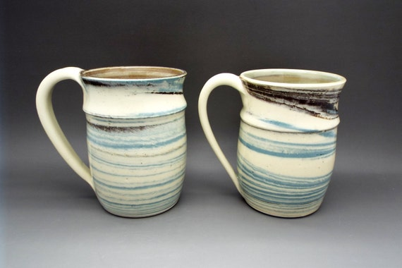 Blue 12oz wheel thrown pottery coffee mugs in agateware style, swirled clay, white, unique mugs, rustic