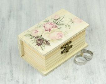 Ring Bearer Box, Wedding box, Wedding Ring Bearer Pillow, Book Wooden Box , Pillow Alternative, Pink Roses